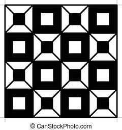 Pattern Square - A geometric monochromatic chessboard...