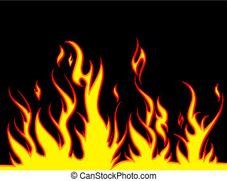 Fiery background - Illustration of flames on a black...