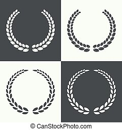 circular laurel wreath. - Set of circular laurel wreath....