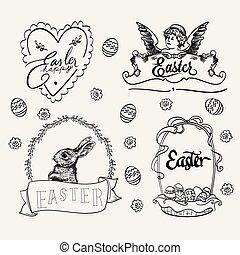 Easter logo set in vintage style. Hand drawn vector illustration