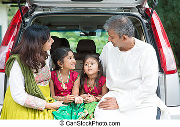 Indian family going to vacation