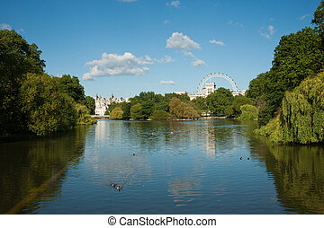 St James Park pond against a blue sky, London, UK