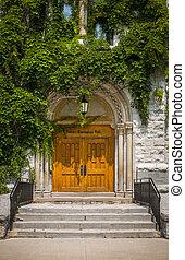 Queen's University Theological Hall building - Doors of...