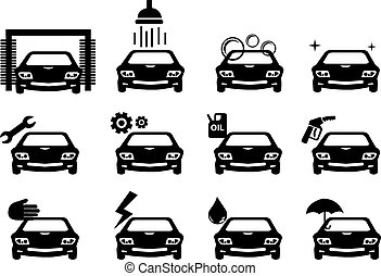 Car Service Icon Set - Black and white illustration of car...