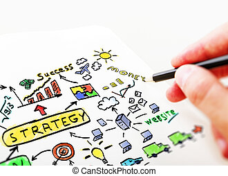 Businessman drawing in a notebook business Plan