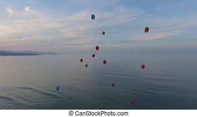 Chinese lanterns flying in the air