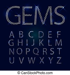 Gems alphabet. All capital letters. Shiny diamond font