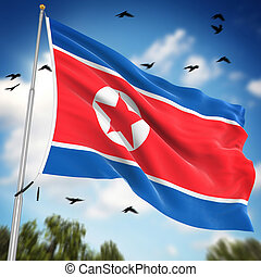 Flag of North Korea , This is a computer generated and 3d...