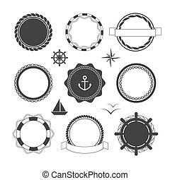 Nautical icons and badges templates - Collection of black...