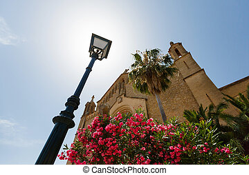 Sanctuary de Sant Salvador, Mallorca - Lantern and facade of...