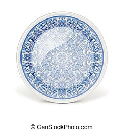 Decorative plate with round lace pattern