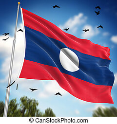 Flag of Laos , This is a computer generated and 3d rendered...