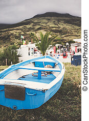 Stromboli - View of fishers beach of Stromboli, Sicily...