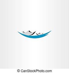 ロゴ, ベクトル, 湖, ボート, 印