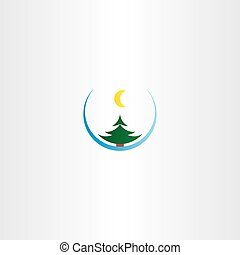 christmass night snow tree and moon icon design