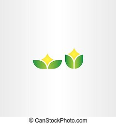eco green natural leaf with star flower