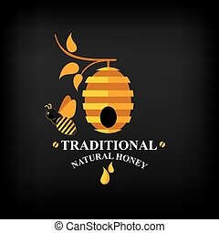 Set Honey badges and labels. Abstract bee design. - Honey...