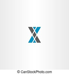 letter x triangle blue gray logo design