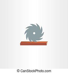 sawmill cutting wood icon logo design