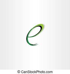 small letter e green black logo symbol