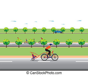 Father biking with little son Family bicycle tour Vector...
