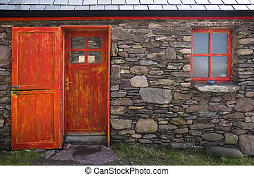 Historic Cottage Door and Window - Old historic stone...