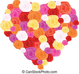 Heart made from roses, vector