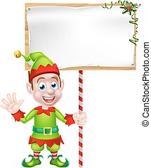 Cartoon Christmas Elf Sign