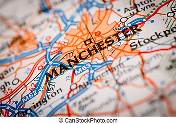 Manchester City on a Road Map - Map Photography: Manchester...