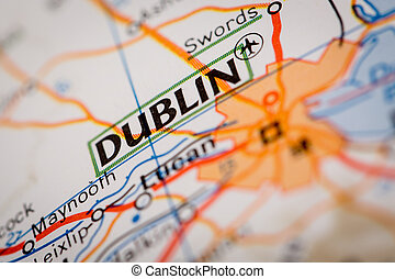 Dublin City on a Road Map - Map Photography: Dublin City on...