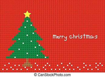 merry christmas tree postcard horizontal