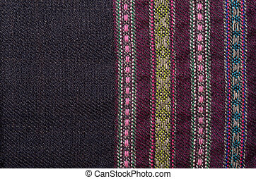 Close-up of the homespun woolen - Texture of the black...