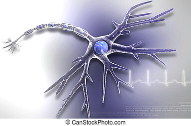 Neuron - Digital illustration of neuron in color background...