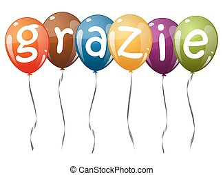 flying balloons with text GRAZIE - six flying balloons multi...