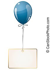 balloon with hangtag - flying colored balloon with empty...