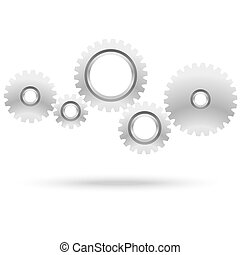 gears for cooperation symbolism - five gray gears for...