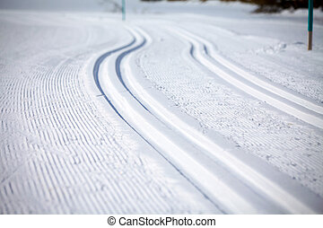 Cross Country Ski Tracks in Engadin, Switzerland