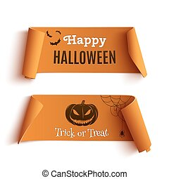 Two Halloween banners, isolated on white background.