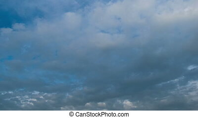 Storm clouds moving in the blue sky. - White, rain, gray,...