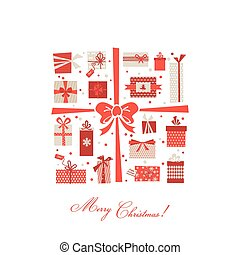 Vintage Christmas Gifts Postcard -  in vector