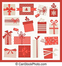 Christmas Gifts Set - Vintage Background - in vector
