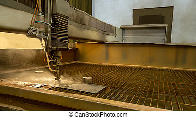 Metalworking. Machine for water jet cutting, close-up