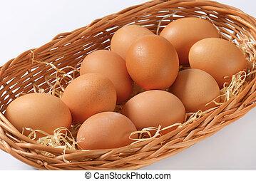 brown eggs - fresh brown eggs in basket