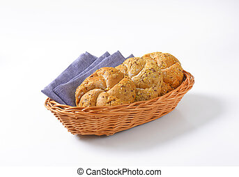 fresh bread buns - whole wheat bread buns in basket