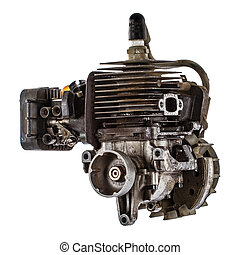 Old gasoline engine, isolated on white background