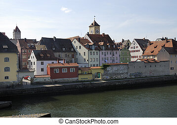 Regensburg - Waterfront of Regensburg at the Danube river...