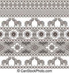 Indian seamless patterns - seamless background with Indian...