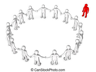 Outsider - White cartoon characters in a circle with a red...