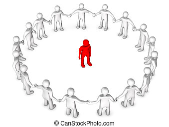 Integration - White cartoon character in a circle with a red...