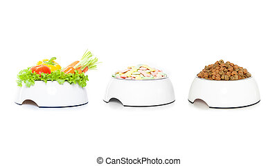 row of 3 pet food bowls - Row, group or stack of pet food...